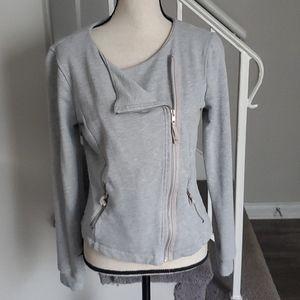 Cyrus Asymmetric Zip Knit Moto Jacket